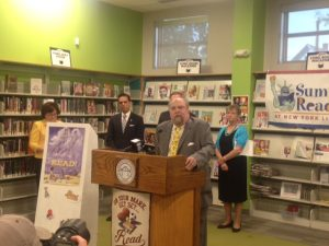 State Librarian Bernard Margolis talking about the importance of Summer Reading.
